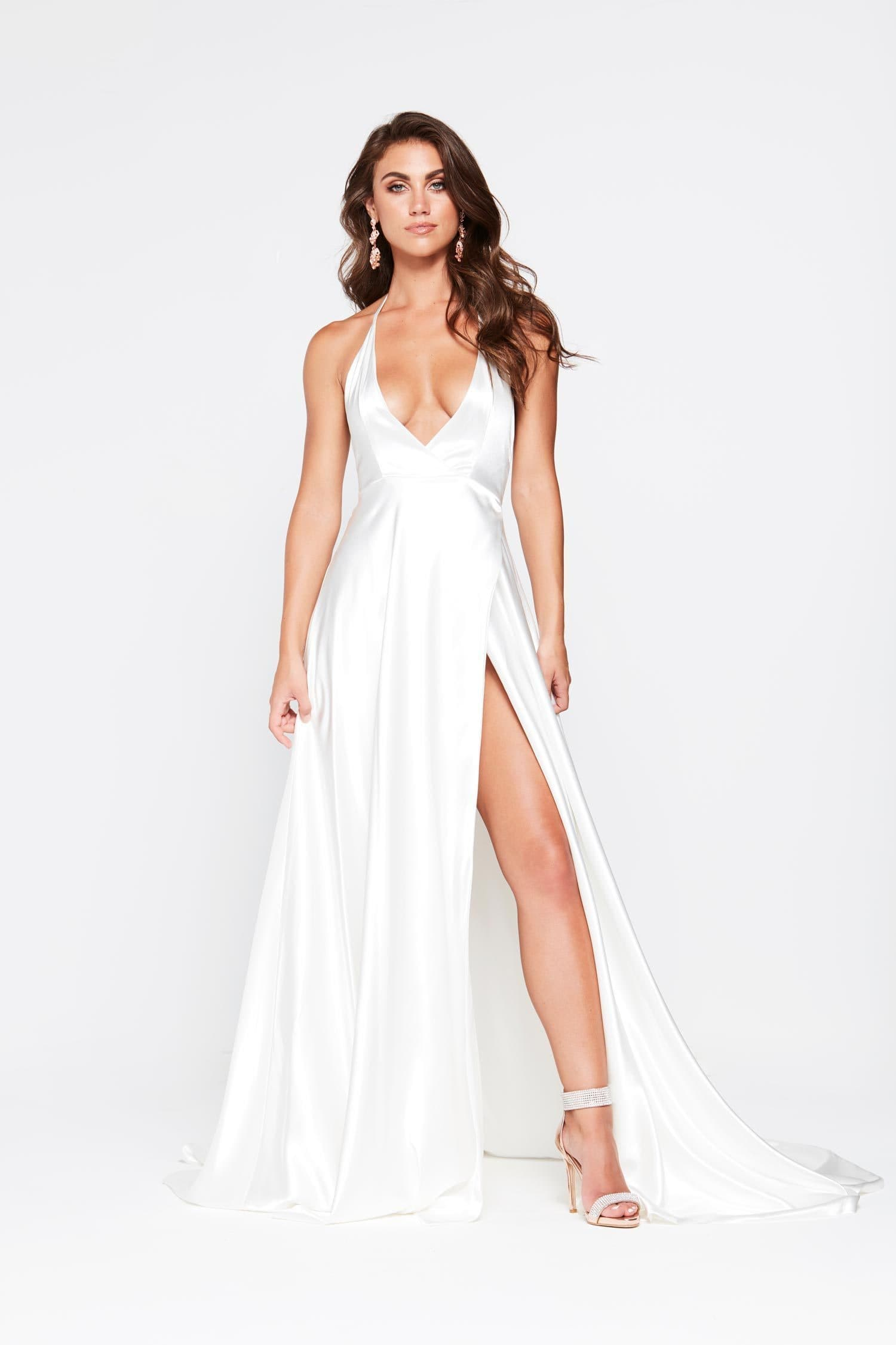 002d1432bb A N Amani - White Satin Dress with Side Slit and Low Back – A N Luxe ...