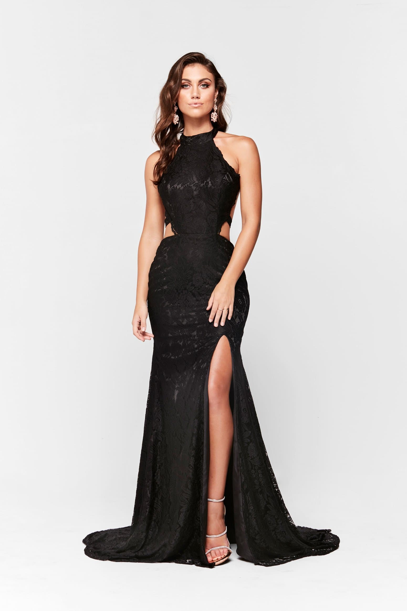A&N Amber - Black Lace Halter Gown with Cut Out Sides and Front Slit