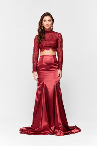A&N Amelie - Lace Satin Two Piece with Long Sleeves in Deep Red