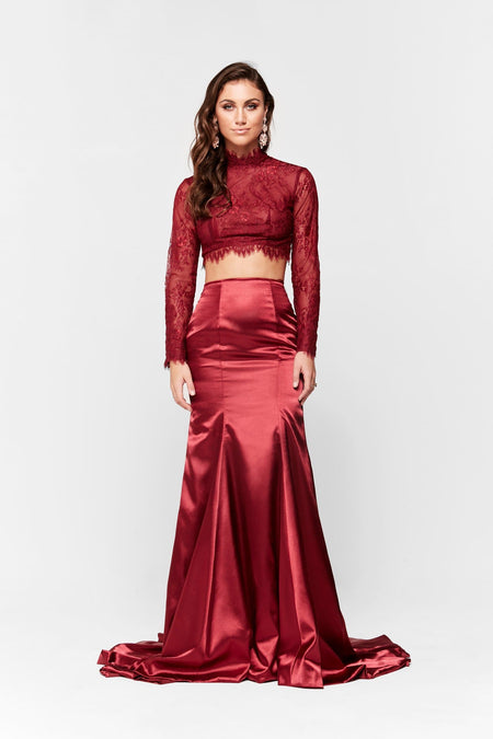 A&N Luxe Katerina Satin Lace Two Piece - Red