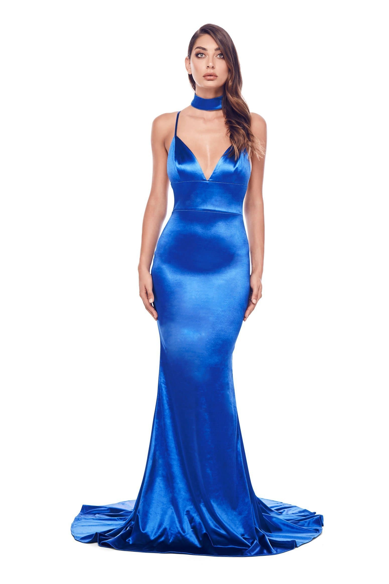 Amina - Royal Blue Satin Gown with V Neck and Lace Up Back