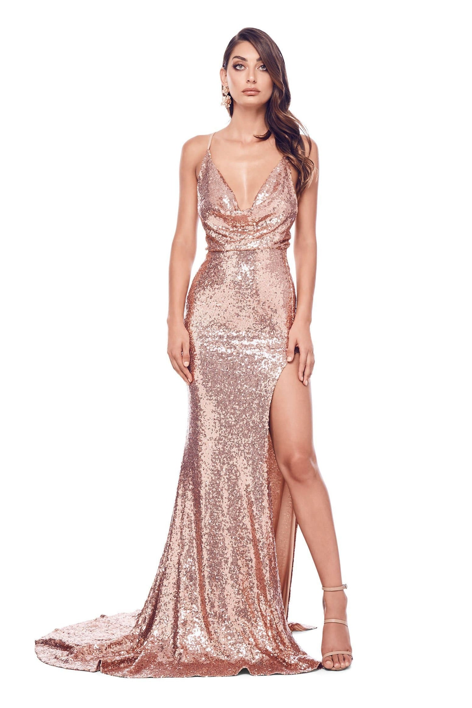 Andriana  - Rose Sequin Gown with Cowl Neck, Low Back & Side Slit