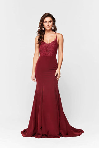 A&N Anika - Burgundy Ponti Lace Gown with Lace Up Back