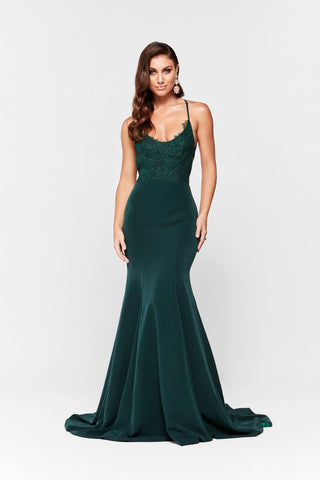 A&N Anika - Emerald Ponti Lace Gown with Lace up Back