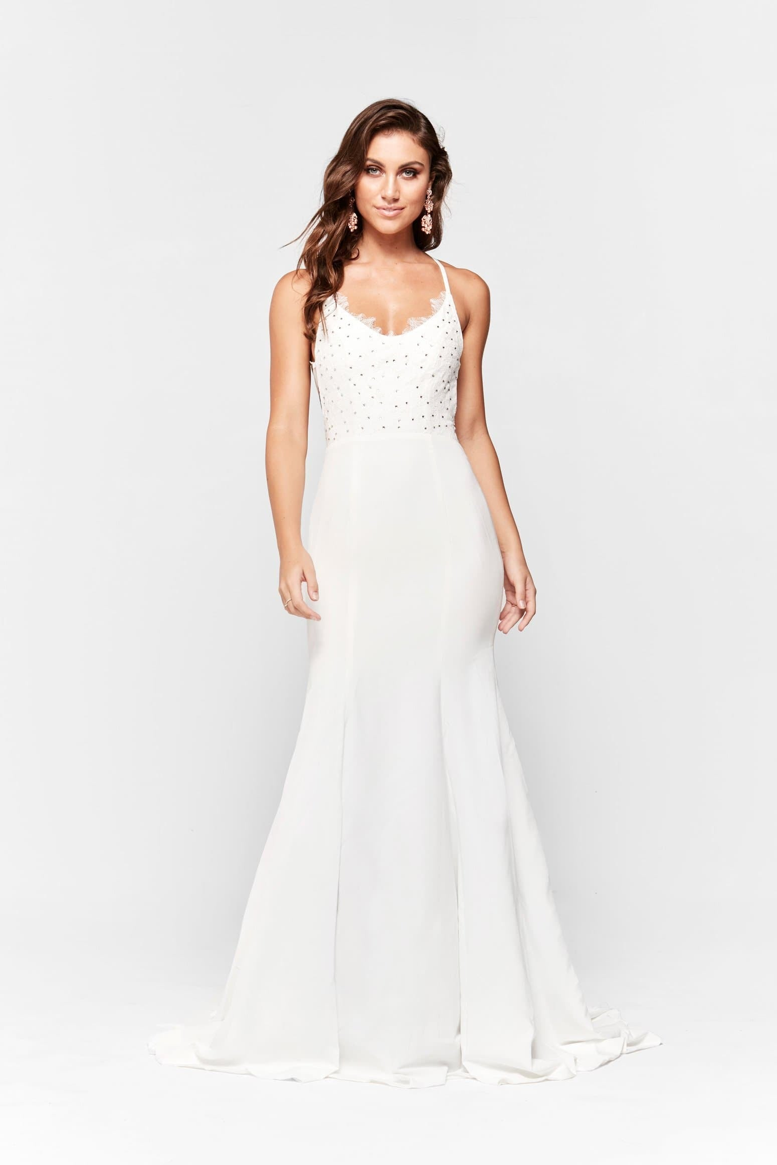 A&N Anika - White Ponti Lace Formal gown with Lace up Back – A&N ...