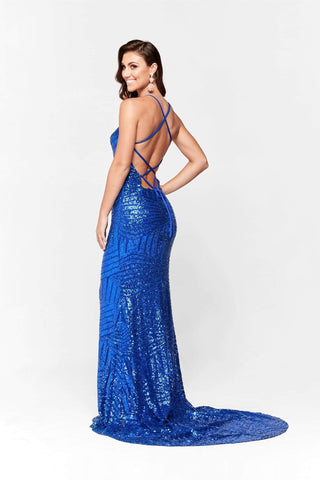 A&N Aniya- Royal Blue Dress with Sequins and Lace Up Back