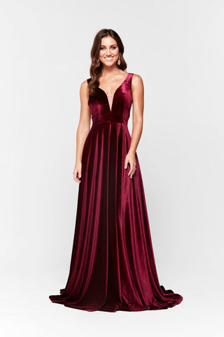A&N Ariel -  Velvet Plunge V Neck Gown with Low Back in Plum