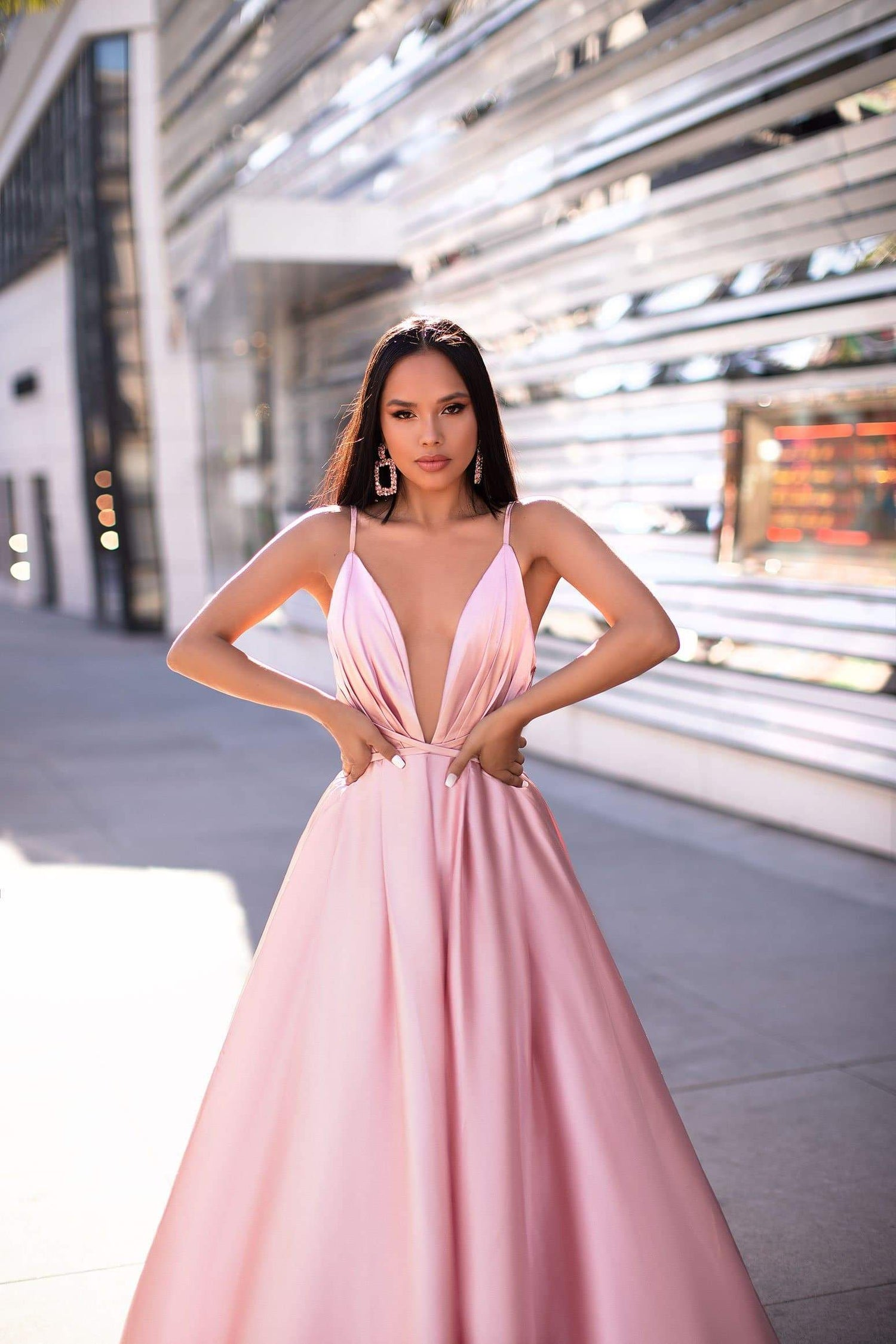 A&N Luxe Ayana Gown - Baby Pink Satin With V Neck & Long Train