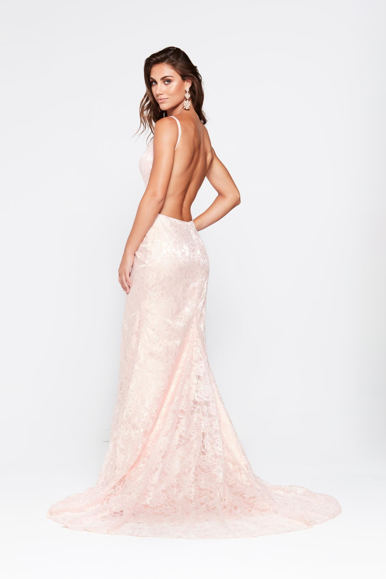 A&N Ayla - Blush Lace Gown with V Neck and Front Slit