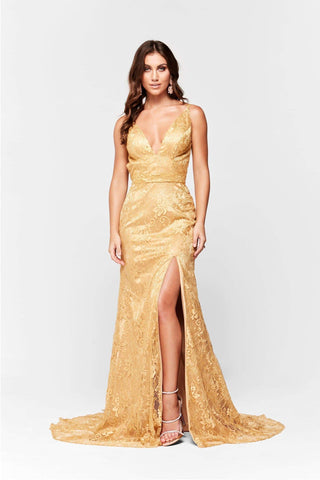 A&N Ayla - Gold Lace Formal Gown with V Neck and Side Slit