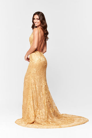 80ec7f7fd6 ... Formal Gown with V Neck and Side Slit · A N Luxe Ayla Lace Gown - Gold