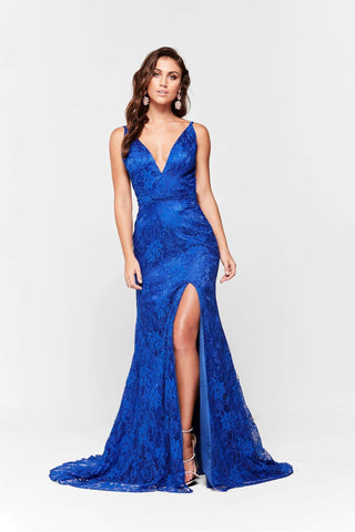 A&N Ayla - Lace V Neck Formal Gown with Side Slit in Royal Blue