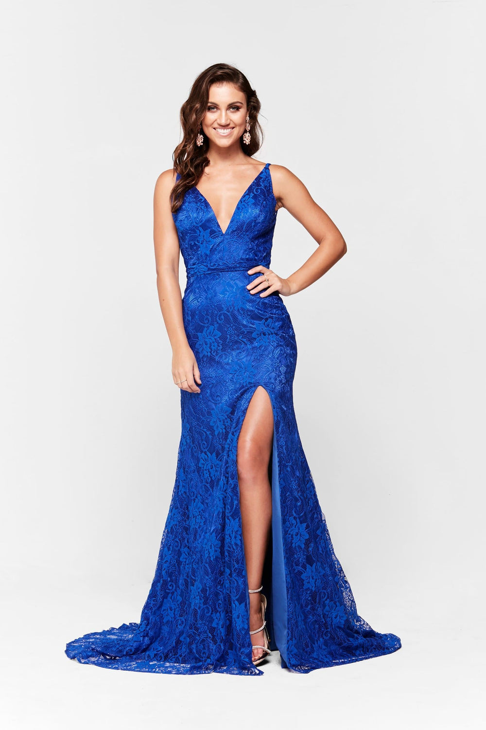 bd82d65857 A N Ayla - Lace V Neck Formal Gown with Side Slit in Royal Blue ...