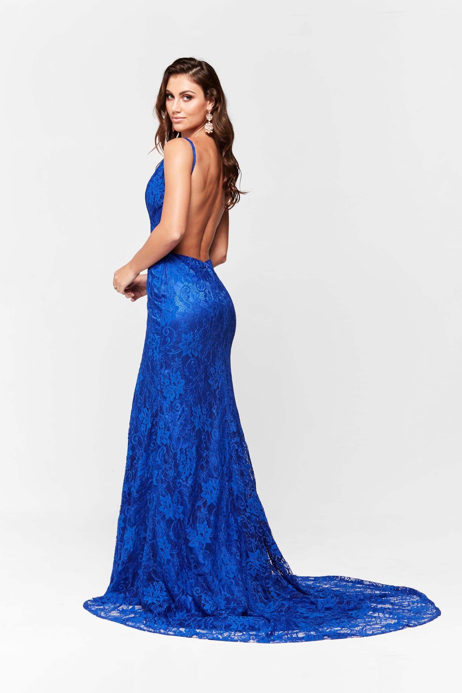 83b0ff0742 A N Ayla - Lace V Neck Formal Gown with Side Slit in Royal Blue – A N Luxe  Label
