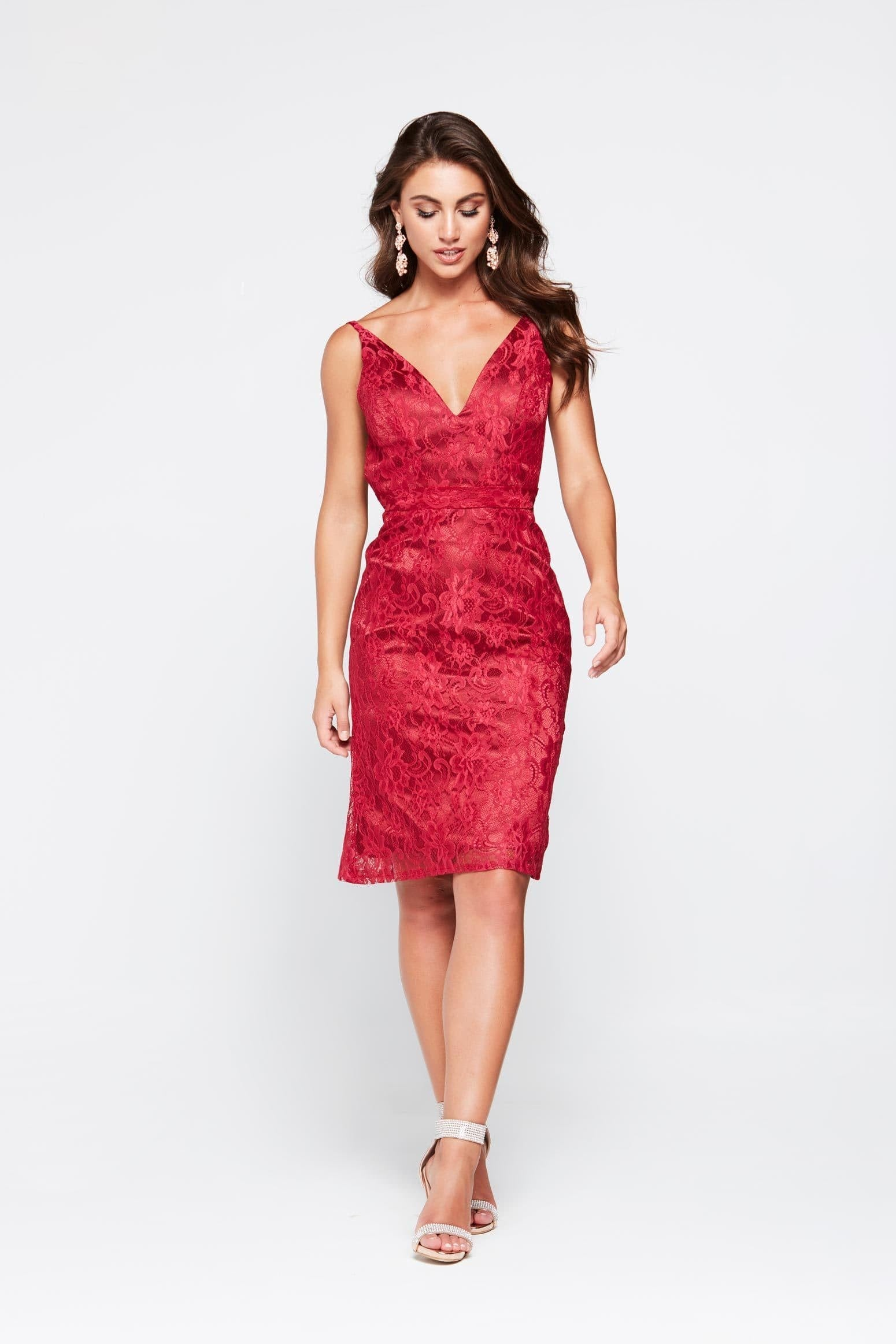 A&N Ayla Mini Cocktail Dress - Red Lace with Low Back
