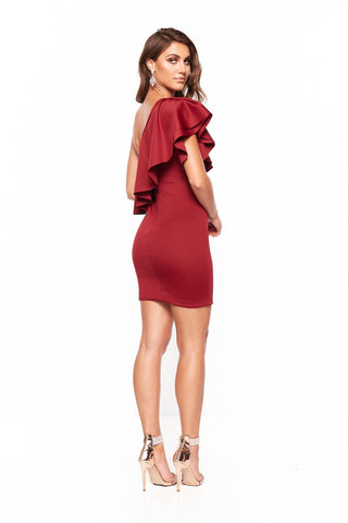 A&N Behati Mini One-Shoulder Cocktail Dress - Burgundy