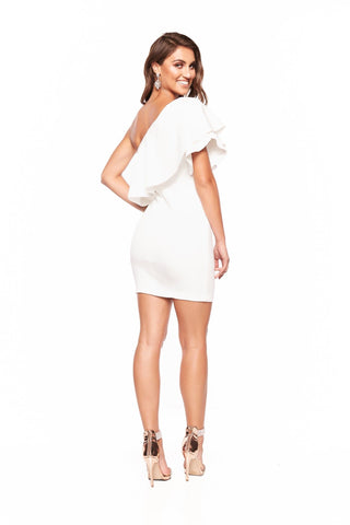A&N Behati Mini One-Shoulder Cocktail Dress - White