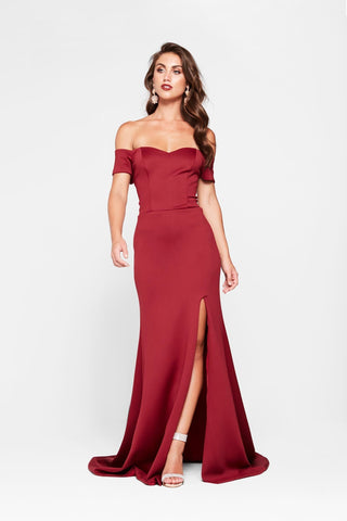 A&N Belle - Deep Red Off The Shoulder Ponti Gown with Side Slit