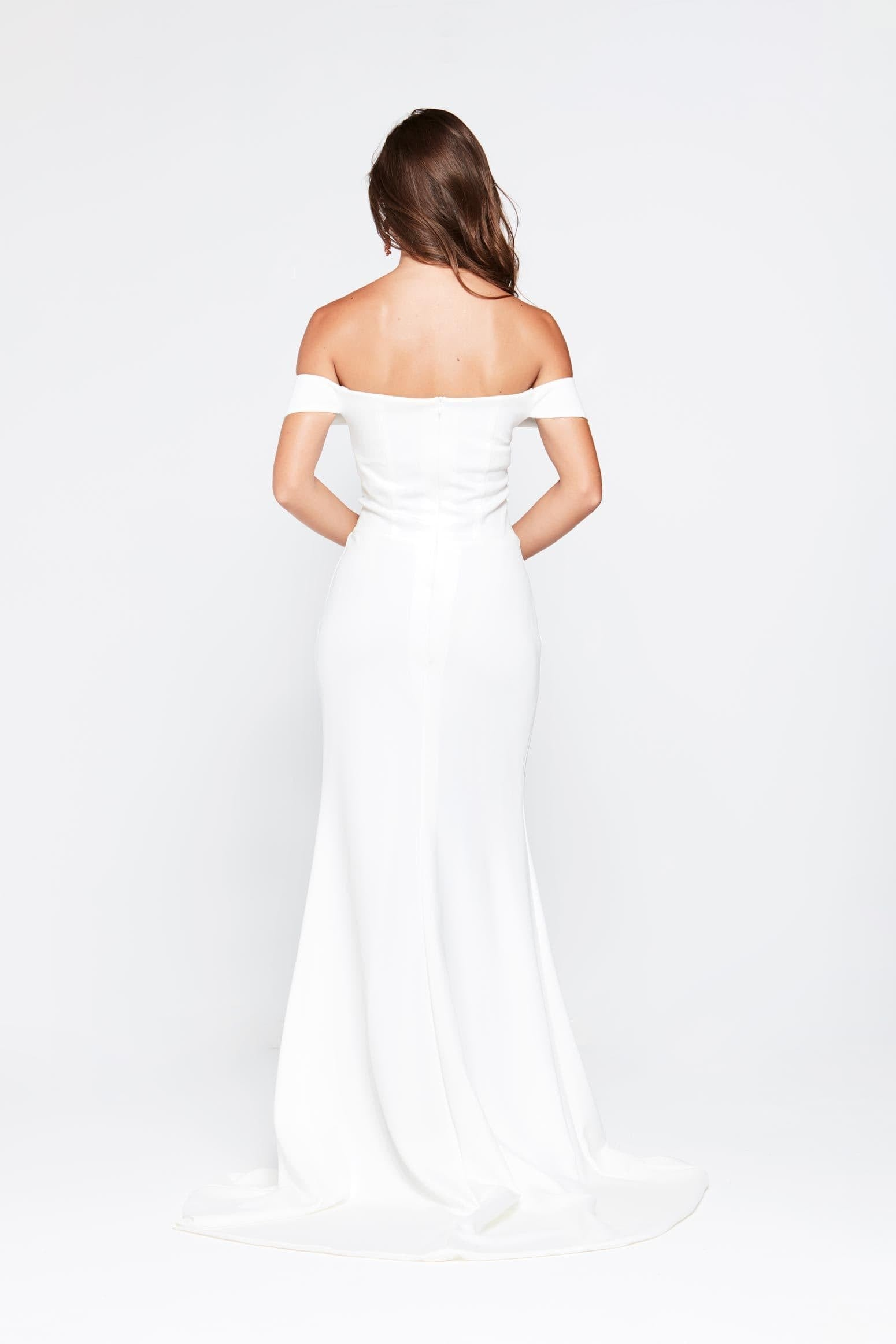 Luxe Belle Gown - White Jersey Off The Shoulder Split Mermaid Dress