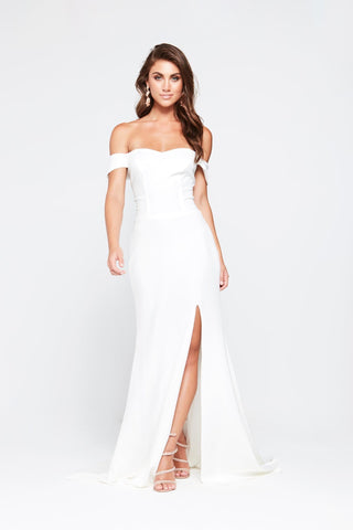 A&N Belle - White Ponti Off The Shoulder Gown with Side Slit