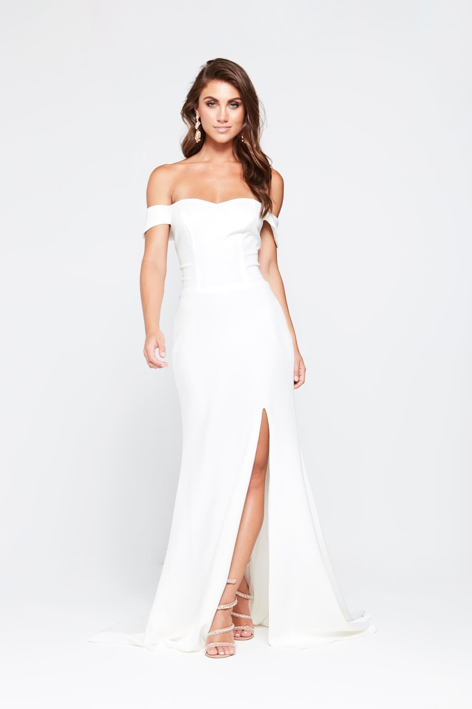 84abe9c502f A N Belle - White Ponti Off The Shoulder Gown with Side Slit – A N ...