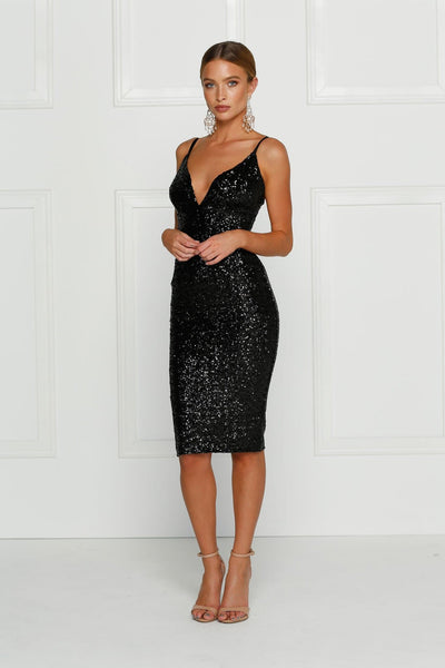 Bellinzona Cocktail Gown -Black Sequin Fitted V Neck Knee Length Dress