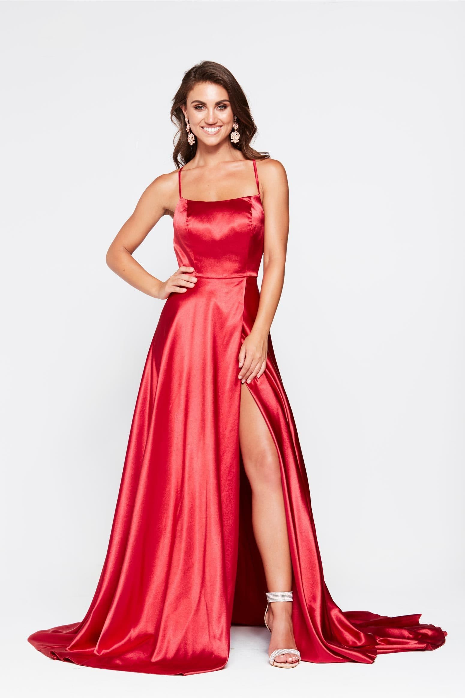 A&N Bianca -Red Satin Gown with Side Slit and Lace Up Back