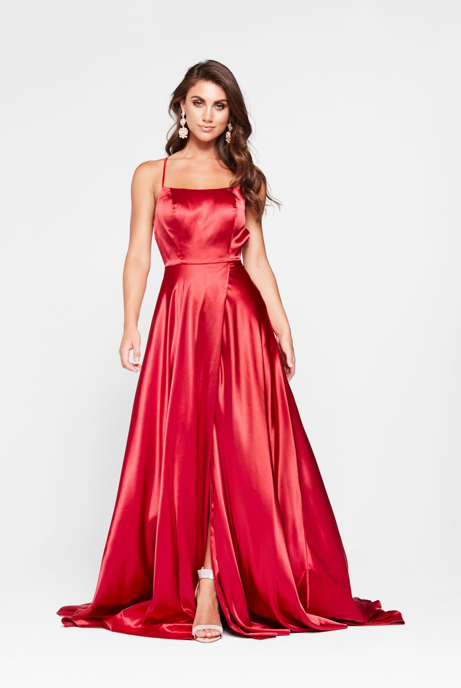 Bianca Formal Dress -Red Satin Side Split Full Length Criss Cross Gown