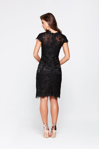 A&N Brooke- Black Cocktail in Lace with Short Sleeves and High Neck