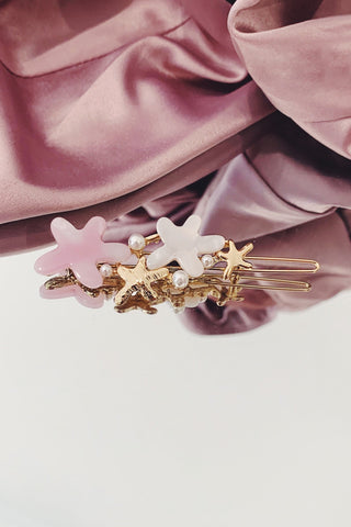 Gold Starfish Pin with Pearls & Pink Detailing