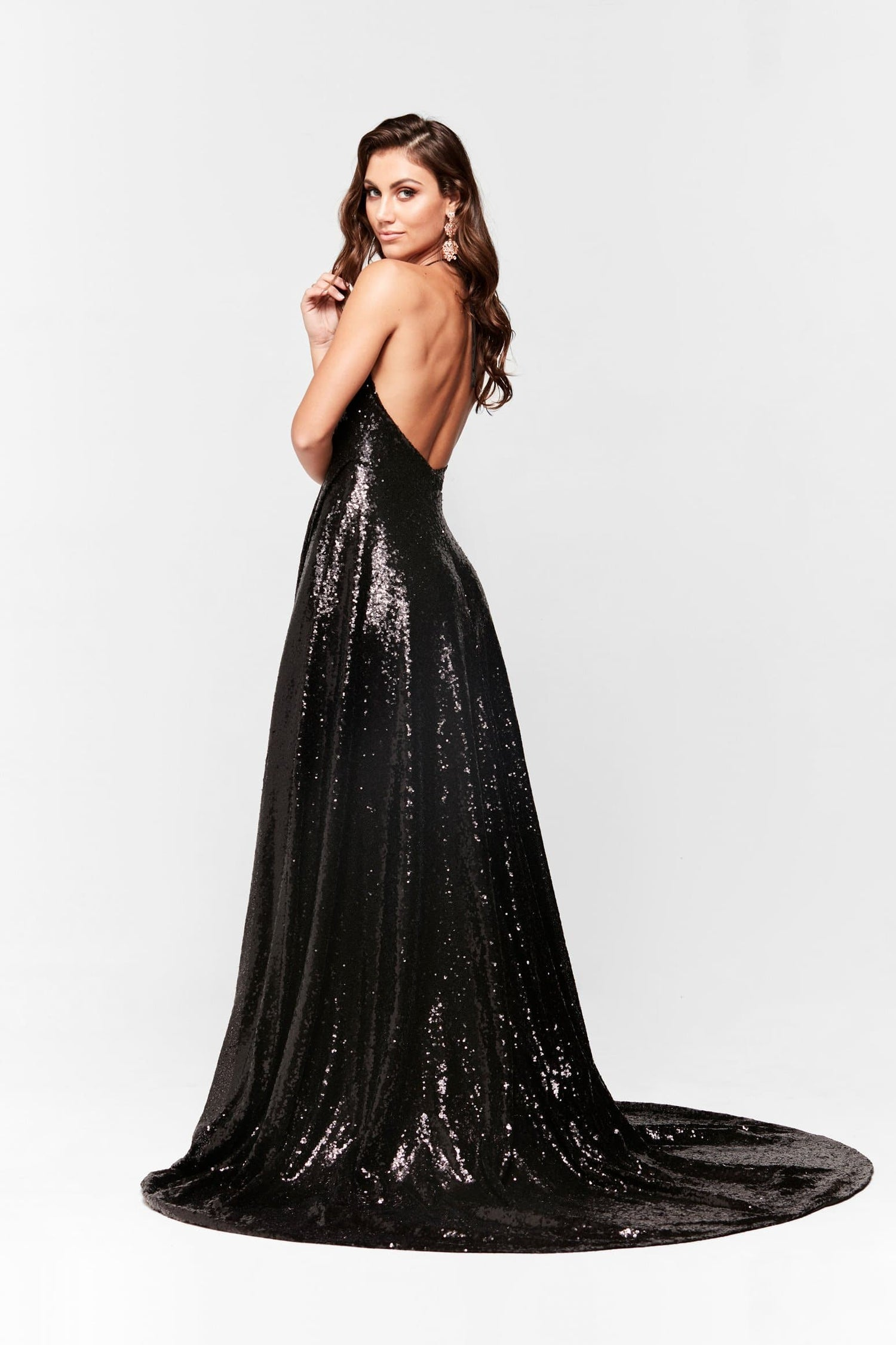 A&N Camilla - Black Sequin Gown with Plunge V Neck and Low Back