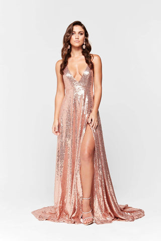 A&N Camilla - Rose Gold Sequin Gown with Halter V Neck and Front Split