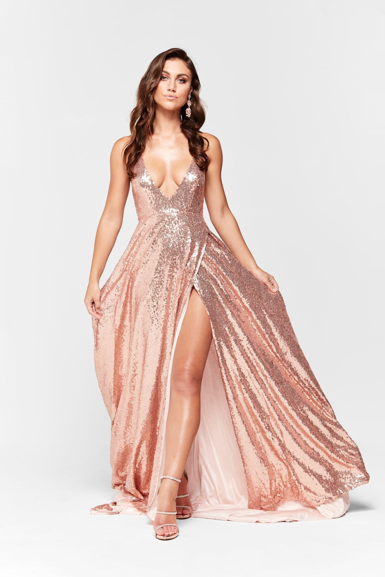 5ec2e4be7fb8 A&N Camilla - Rose Gold Sequin Gown with Halter V Neck and Front Split ...