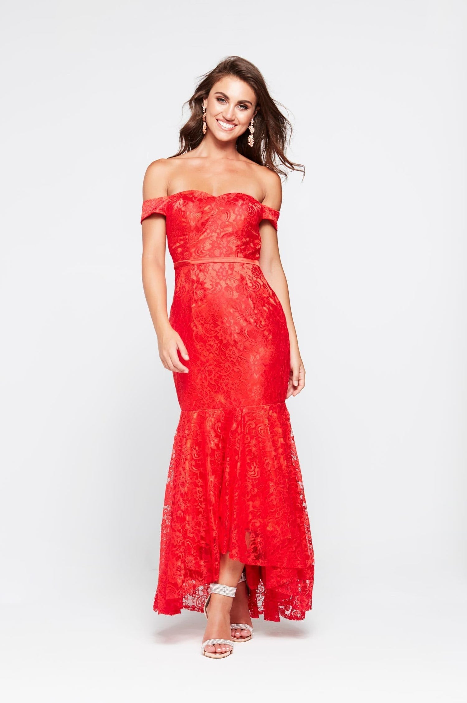 d6890f941f6e4 A&N Caroline - Red Off Shoulder Mermaid Dress with Lace Detail – A&N ...