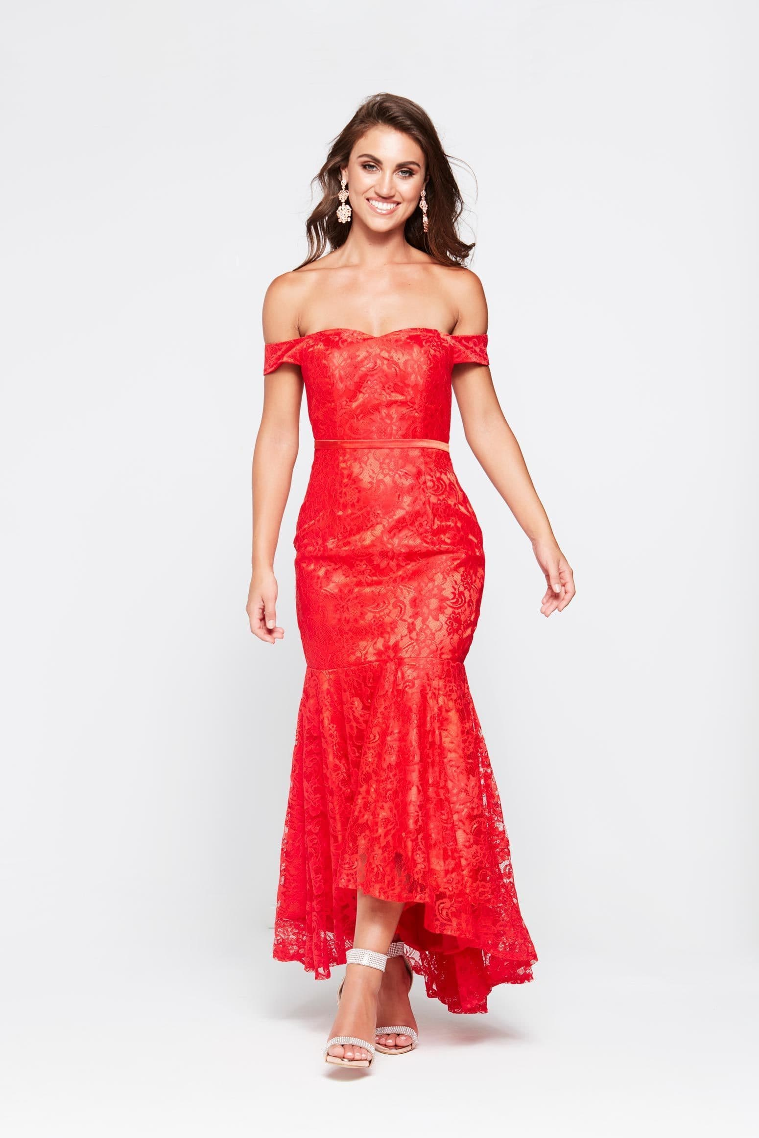 A&N Caroline - Red Off Shoulder Mermaid Dress with Lace Detail