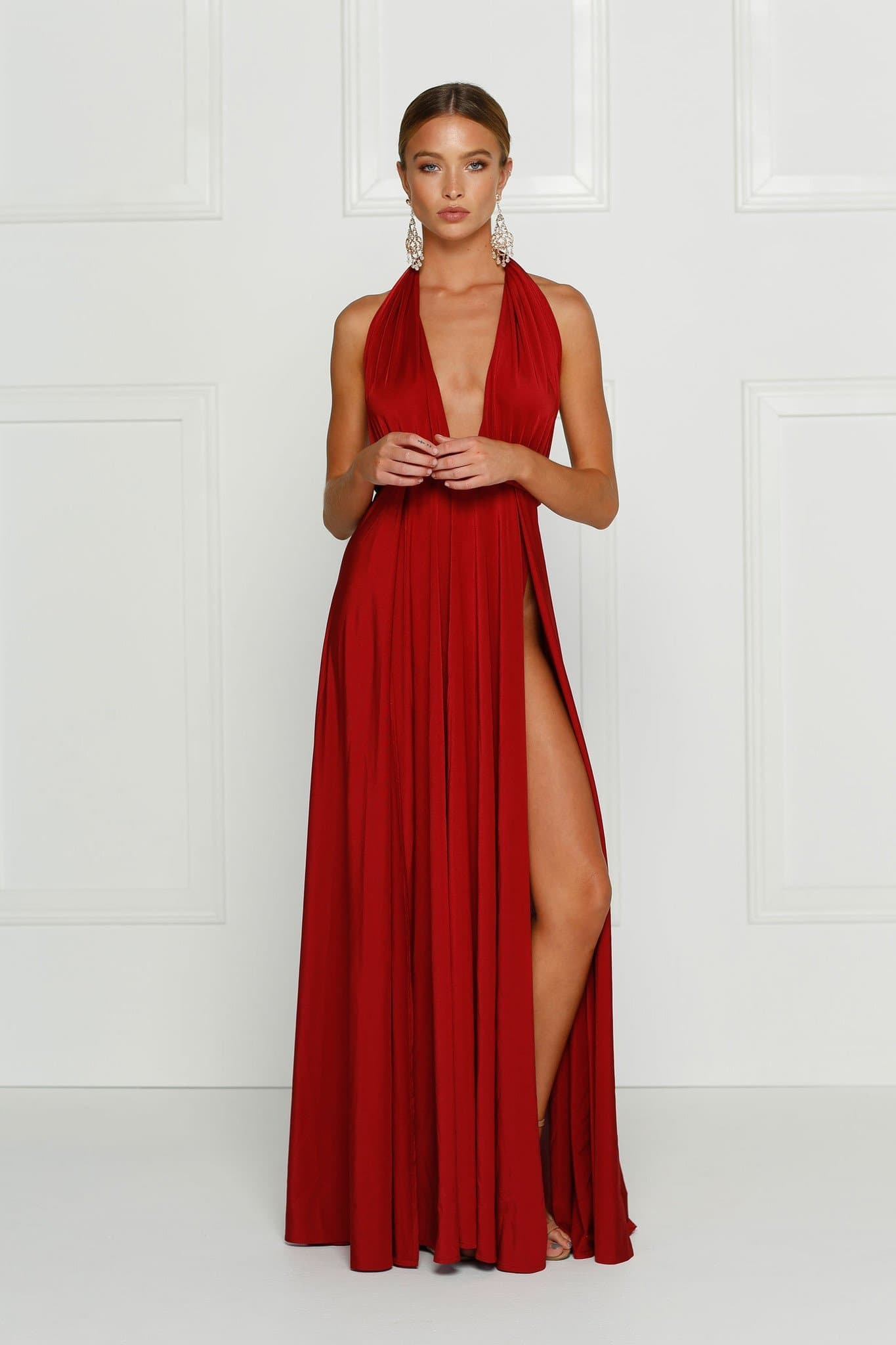 Catalina - Wine Red Grecian Style Jersey Gown with Low Back & Slits