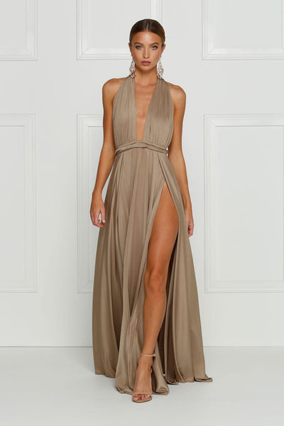 Grecian style bronze maxi made from stretchy jersey with two thigh high splits, adjustable top, low back and full length