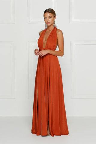 Grecian style golden rust maxi made from stretchy jersey with two thigh high splits, adjustable top, low back and full length