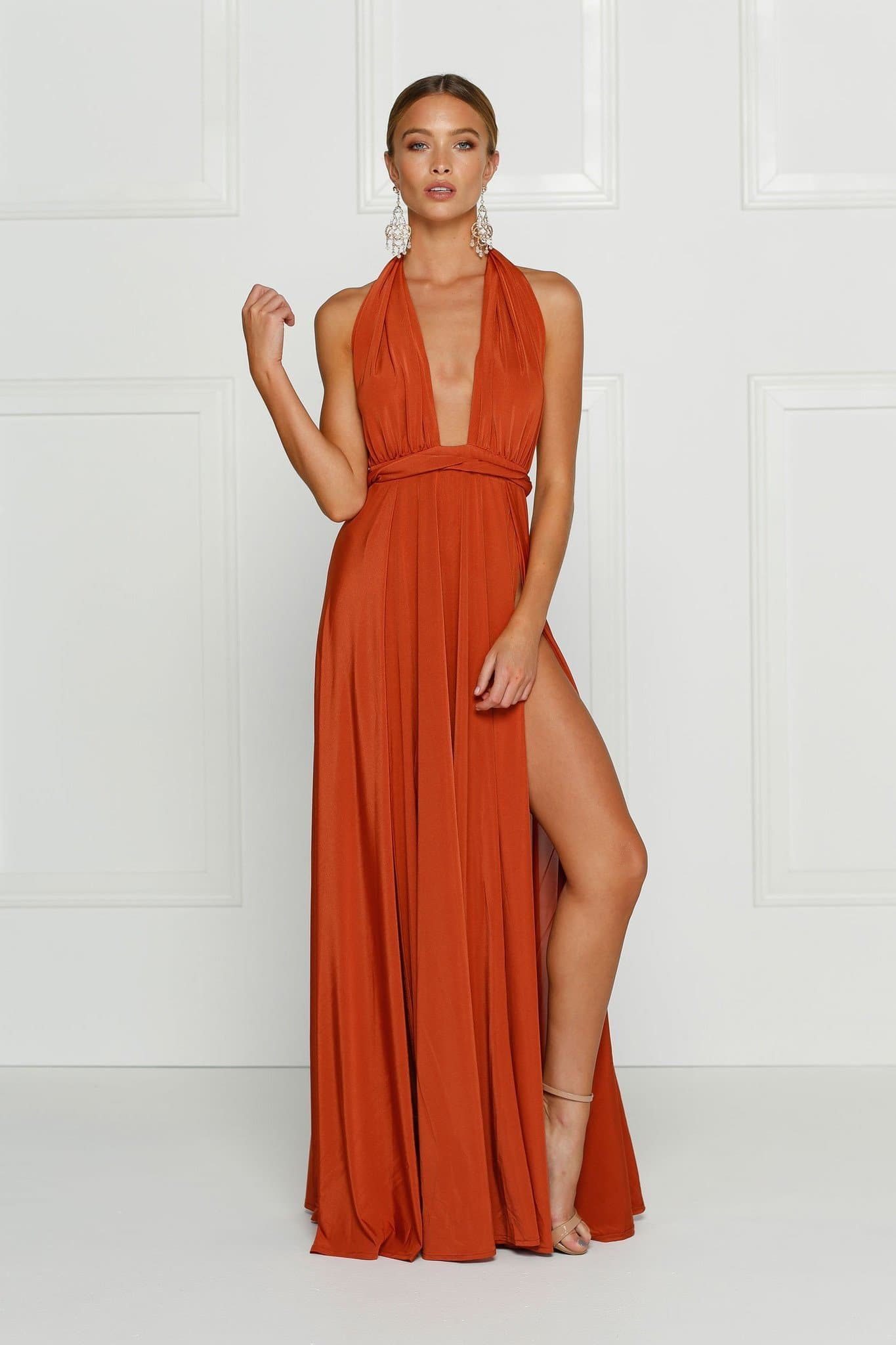 Catalina - Rust Grecian Style Gown with Side Slits and Low Back