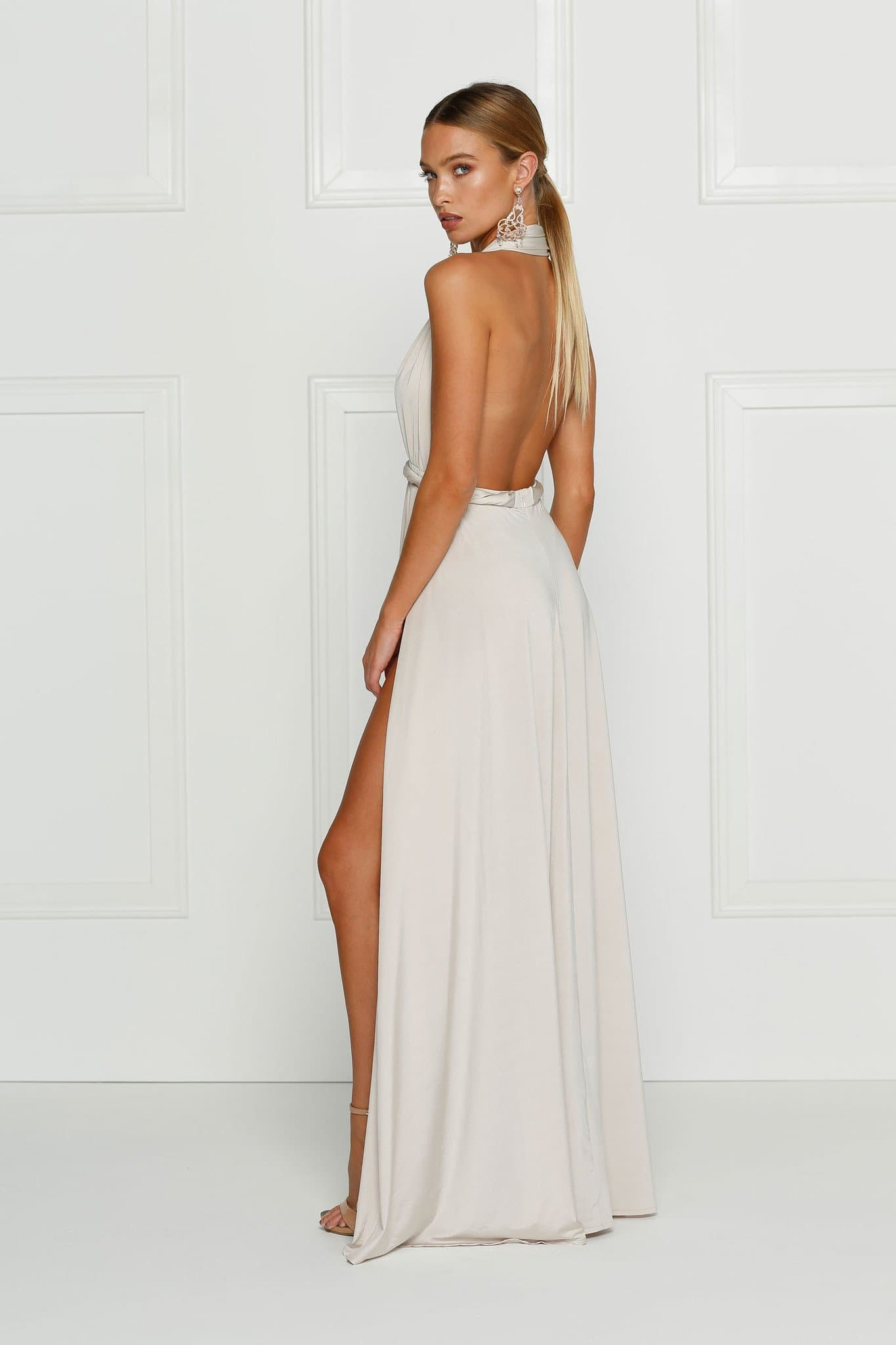 Catalina - Oyster Grecian Style Jersey Gown with High Slits & Low Back