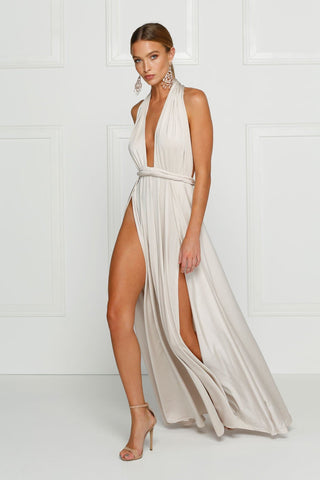 Grecian style oyster maxi made from stretchy jersey with two thigh high splits, adjustable top, low back and full length