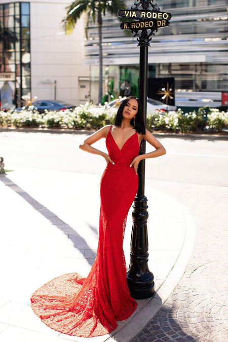 A&N Luxe Ciara Sequins Gown - Red