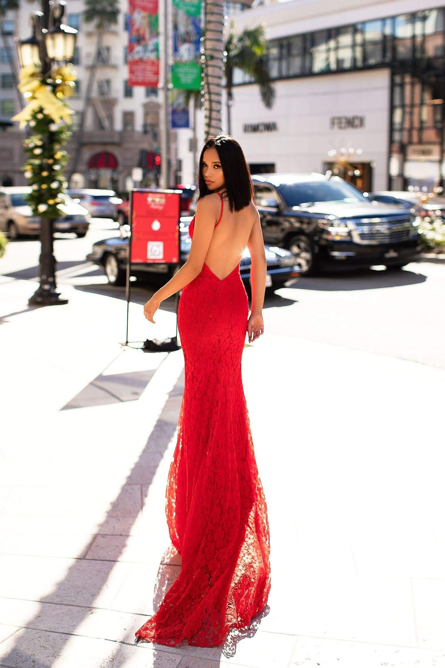 A&N Luxe Ashanti Gown - Red Shimmering Lace V-Plunge Neckline Prom & Formal Gown