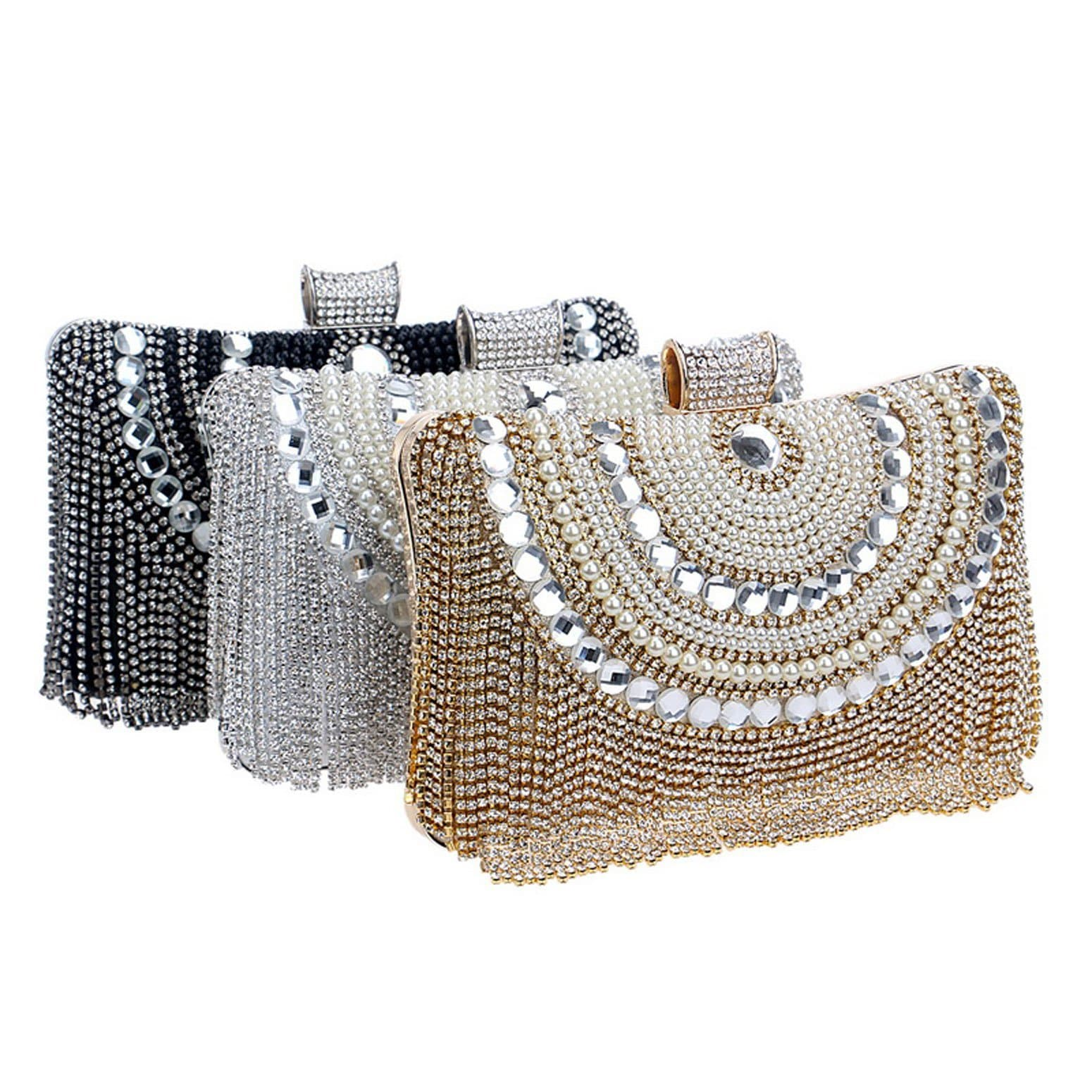 Glazori Crystal Beaded Tassel Clutch - Silver