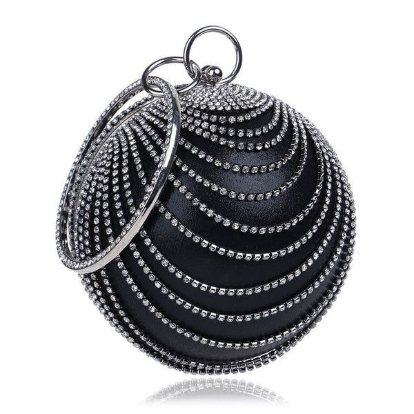 Glazori Crystal Detail Sphere Clutch - Black