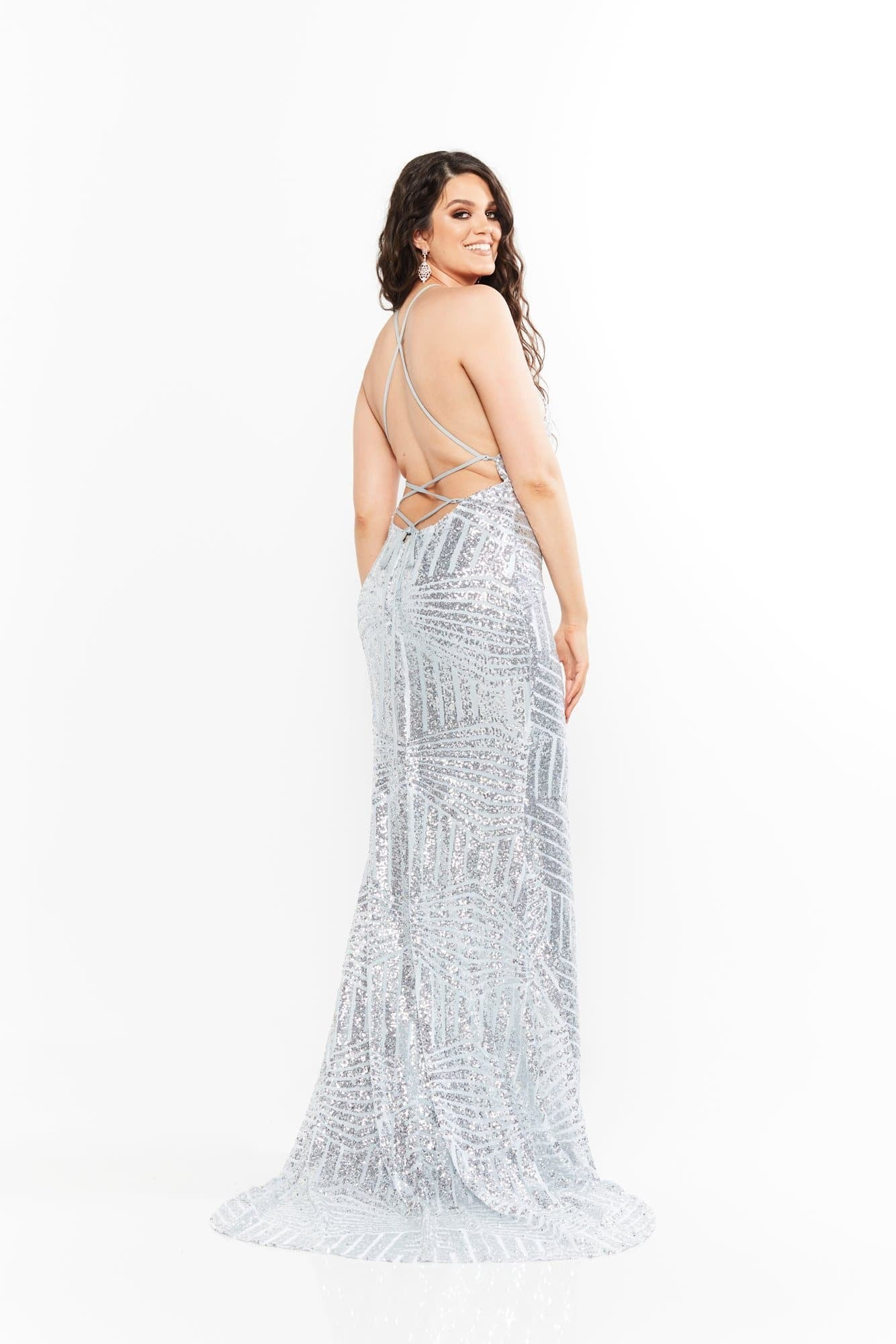 A&N Curve - Silver Cosmo Sequins Gown with Lace-Up Back and Slit