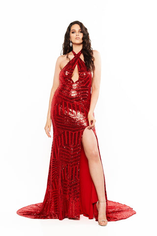 A&N Curve Cleopatra - Backless Multiway Dress with Slit in Red