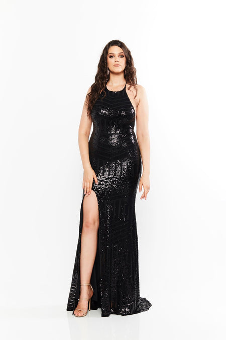A&N Curve Fabiana Sequin Gown - Burgundy