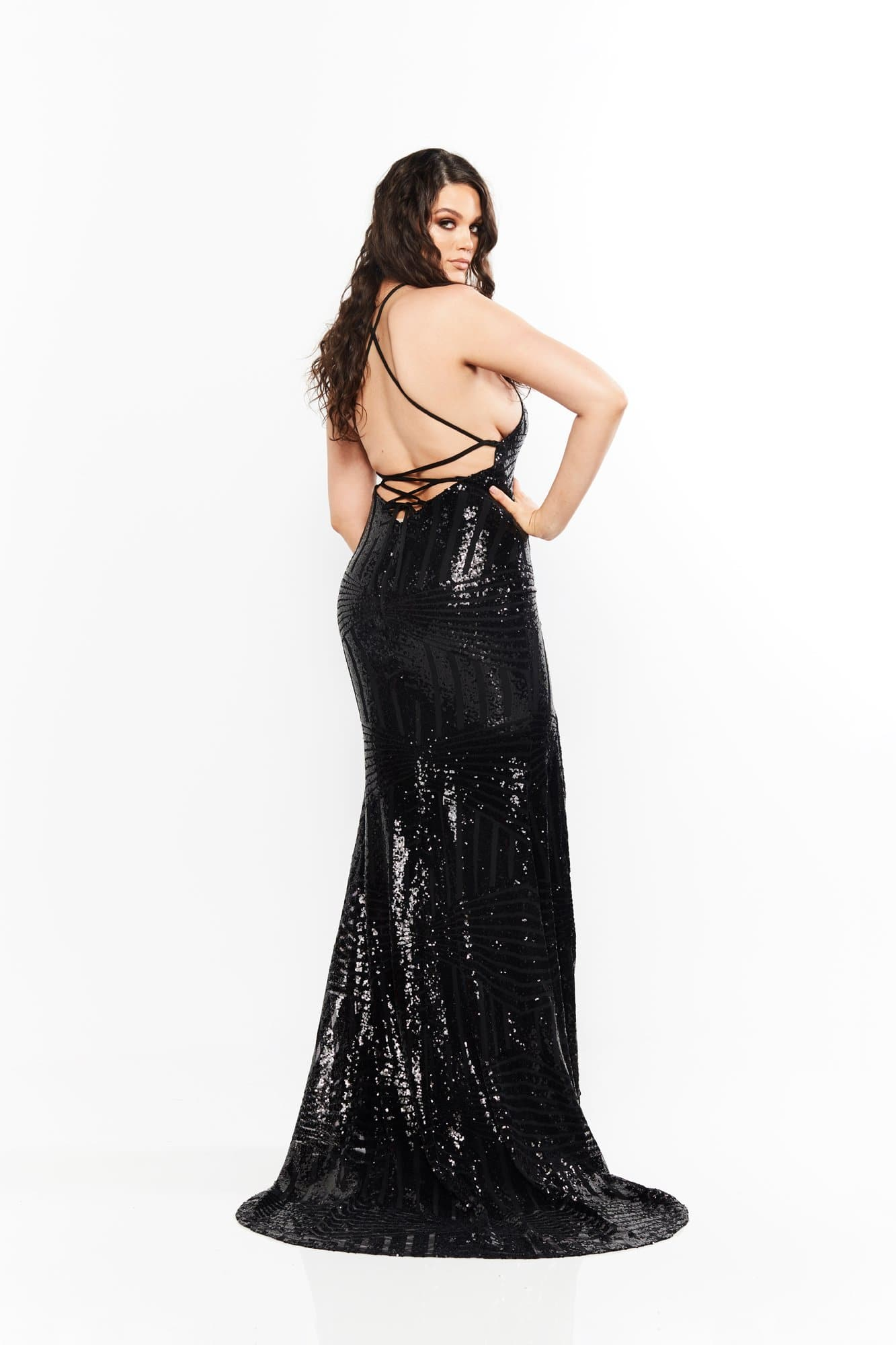 A&N Curve Cosmo- Black Sequins Gown with Lace-Up Back and Slit