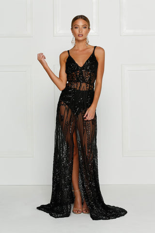 sheer black full length gown embellished with sequins, lined at the bust, front centre split, deep v neck and comes with underwear